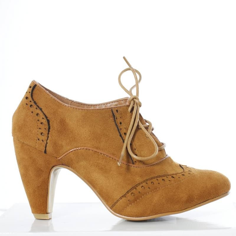 Brogue Suedette Lace Up Mid Heel Ankle Boots - Tique a Bou