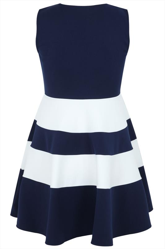 Navy And White Block Stripe Skater Dress - Tique a Bou 3fd83439c