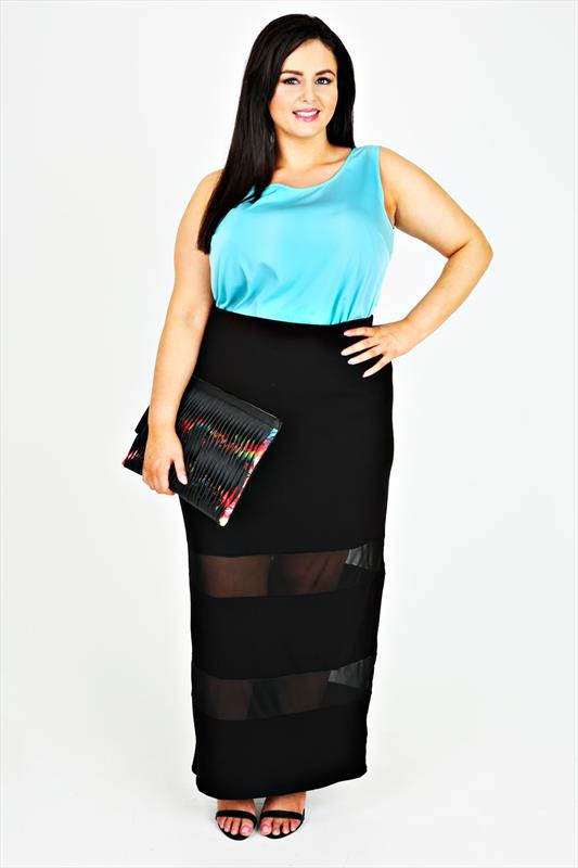5a00f3cd9a Black Pull On Maxi Skirt With Mesh Panels