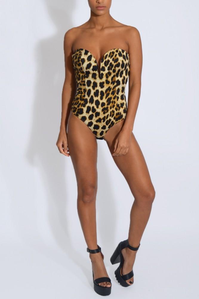 Leopard Print Plunge Bodysuit1