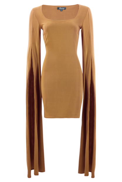 Beige Slinky Bodycon Dress With Long Split Sleeves