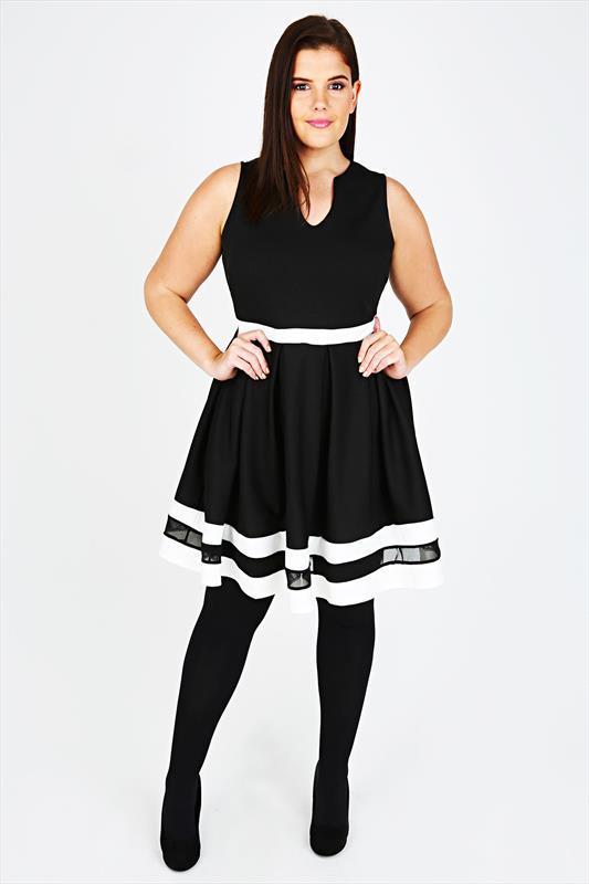 Black and White Stripe Skater Dress