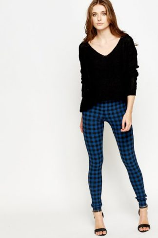 Checked Middle Blue Leggings