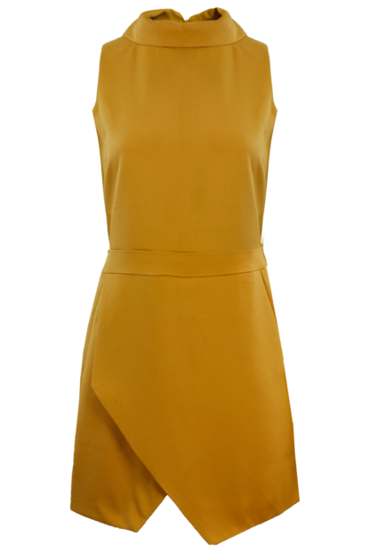 Mustard High Neck Playsuit With Wrap Front