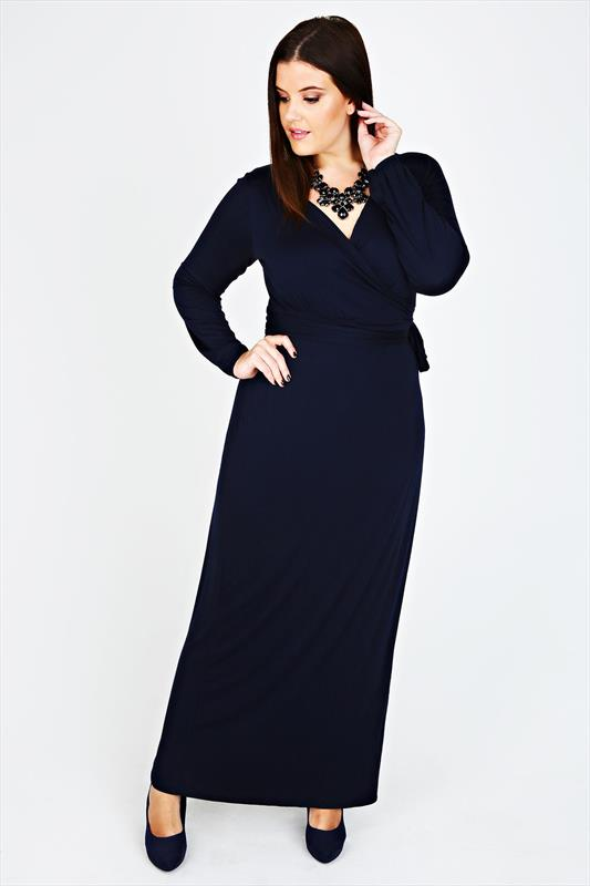 Navy Long Sleeved Wrap Maxi Dress