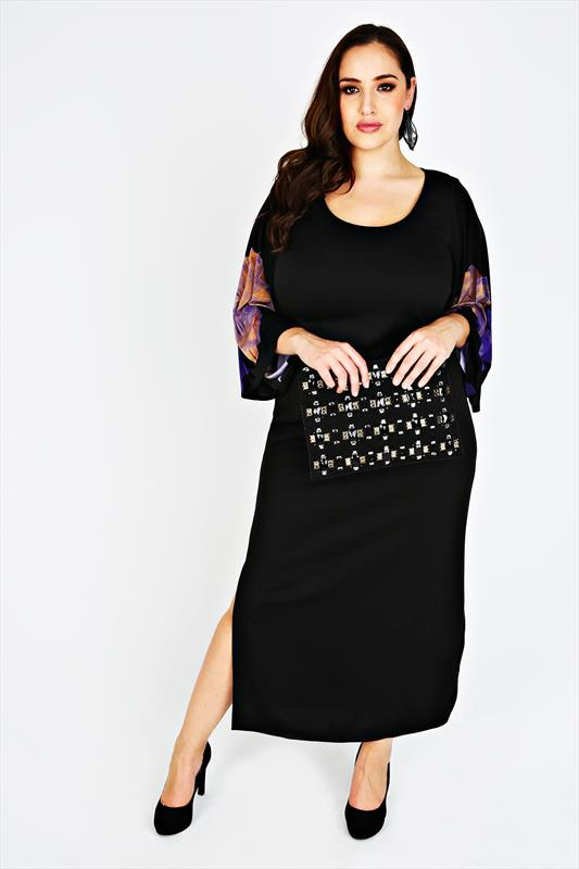 SCARLETT & JO Black Kimono Maxi Dress With Floral Printed Sleeves