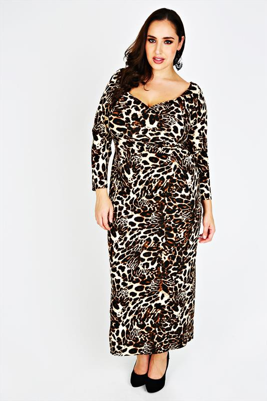 Leopard Print Plus Size Maxi Dress - Tique a Bou
