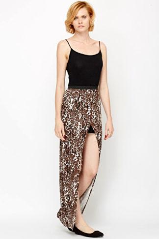Wrap Front Leopard Maxi Skirt