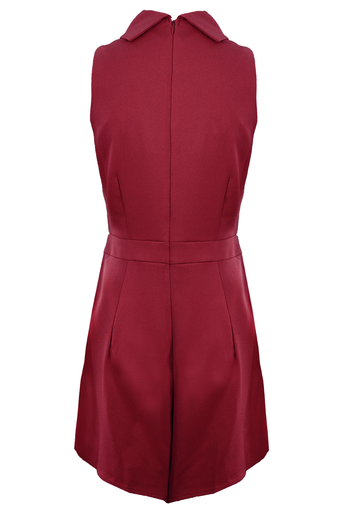 Burgundy High Neck Playsuit With Wrap Front