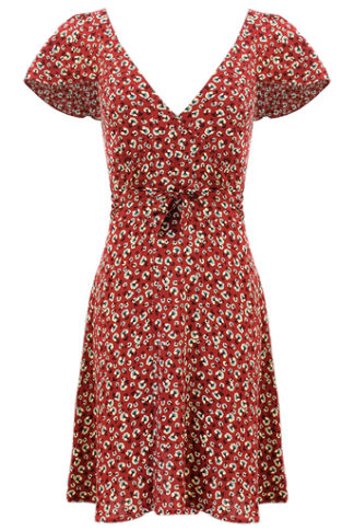 Burnt Red Floral V Neck Tea Dress