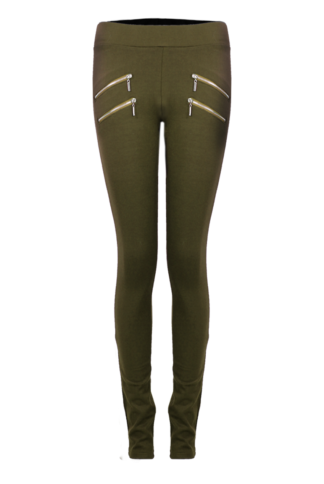 Khaki Hipster Leggings With Double Zip Detail
