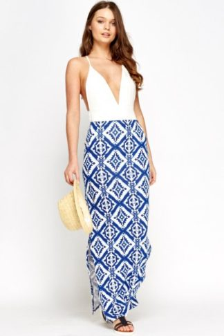 Blue Multi Aztec Skirt