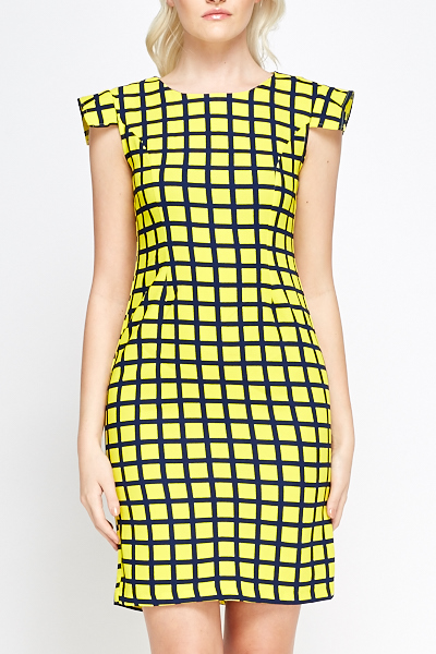 Checked Yellow Pencil Dress