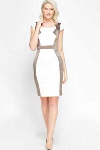 Contrast Brown Pencil Dress