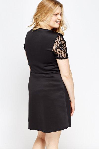 Lace Insert Black Skater Dress