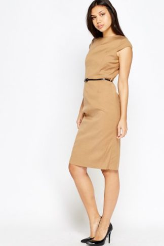 Light Brown Belted Dress