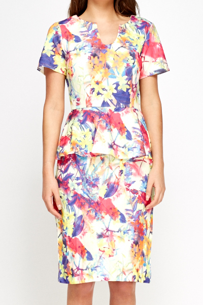 Peplum Multi Floral Dress