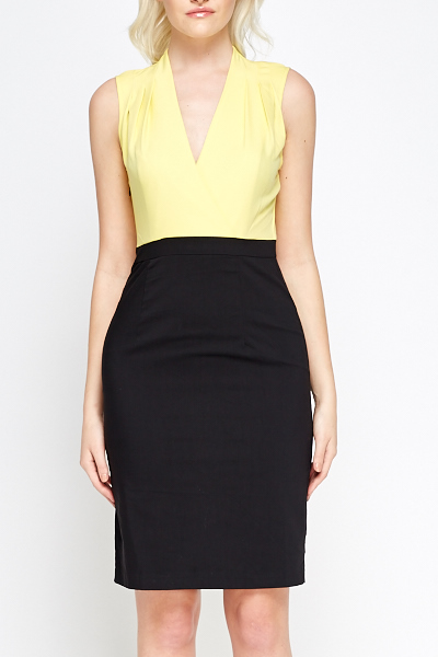 Pleated Shoulder Plunge Shift Dress