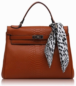Orange Snake Skin Grab Tote Bag