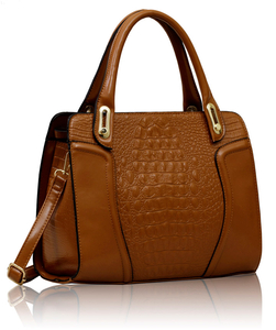 Tan Croc Tote Bag