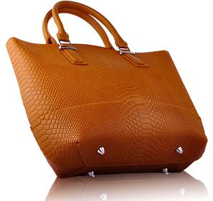 Tan Retro Snakeskin Tote Handbag