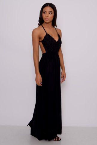 Black Textured Bust Maxi Dress