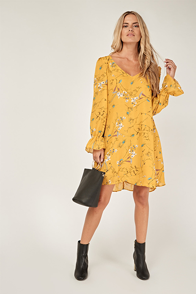 Cut Out Back Mustard Sheer Swing Dress