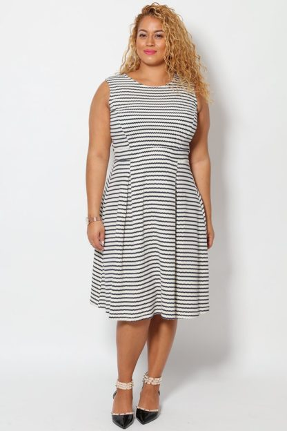 Dotted Lines Print White Tea Dress