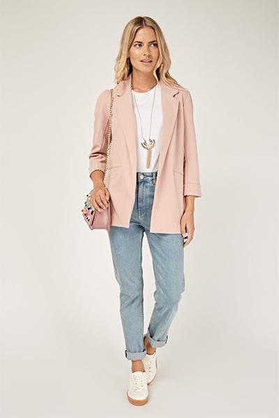 Dusty Pink Casual Blazer