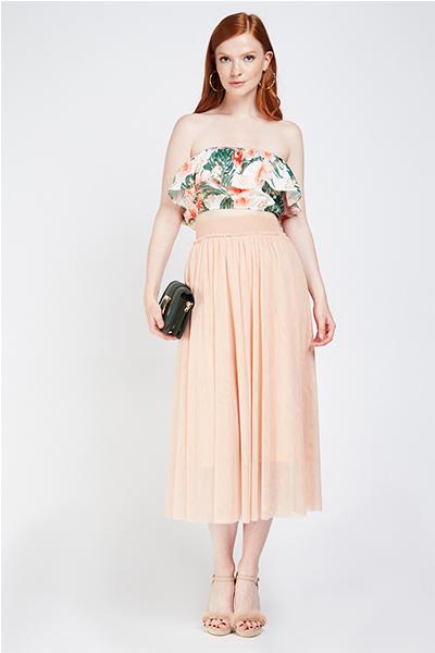 Frilly Mesh Overlay Midi Skirt