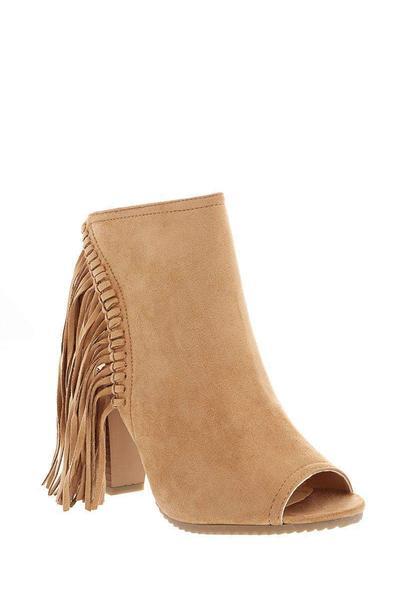 Fringe Peep Toe Camel Ankle Boots