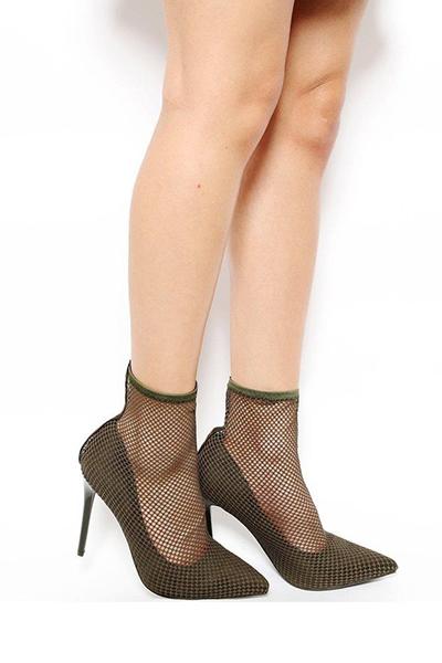 Khaki Net Sock Heels