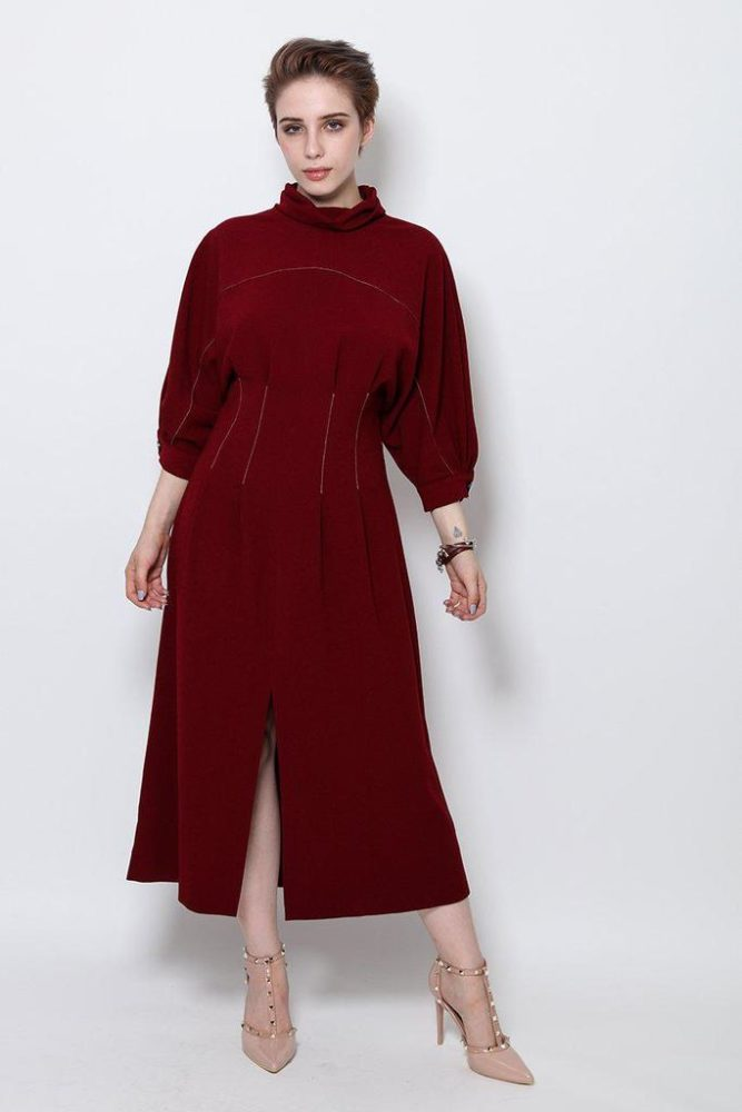 Longline Burgundy Pilgrim Dress