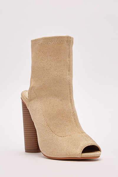 Open Toe Lurex Ankle Boots