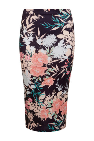 Oriental Floral Midi Skirt