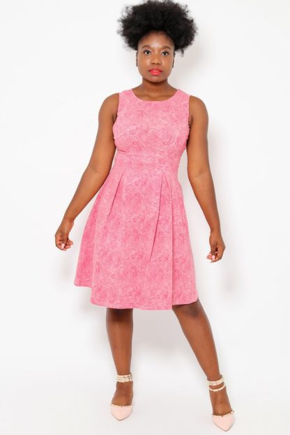 Pink Paisley Print Tea Dress