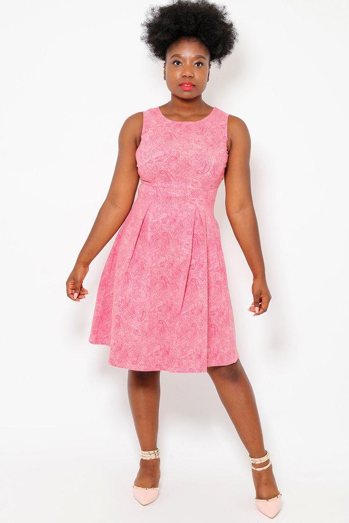 Pink Paisley Print Tea Dress