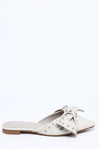 Point Toe Grey Jewelled Bow Slippers