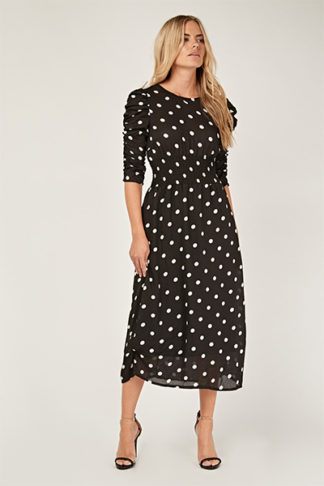 Ruched Sleeve Midi Polka Dot Dress