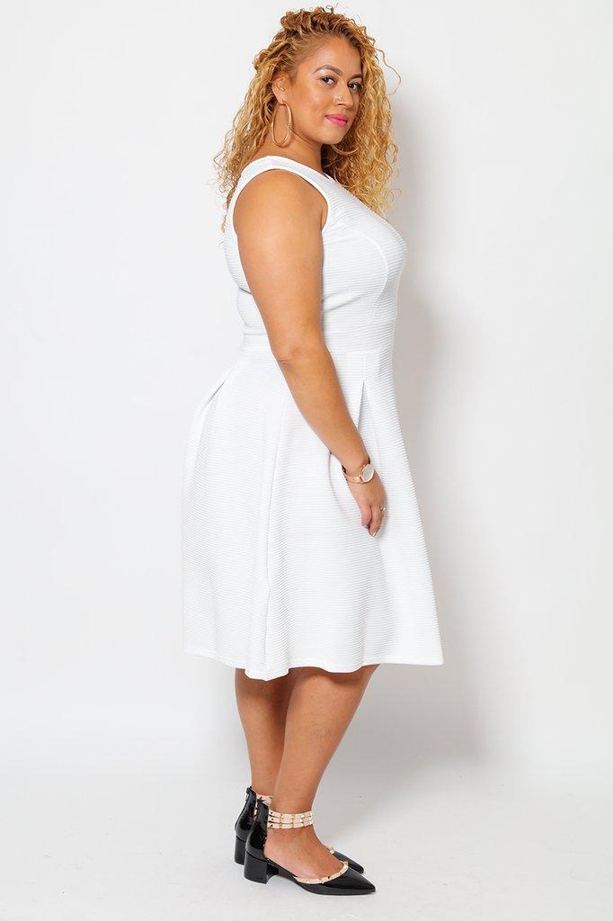 0e809b23780c1f Sleeveless White Textured Tea Dress - Tique a Bou