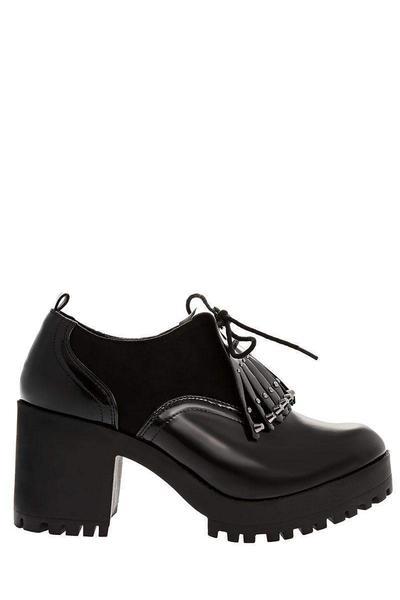 Studded Fringe Black Heeled Loafers