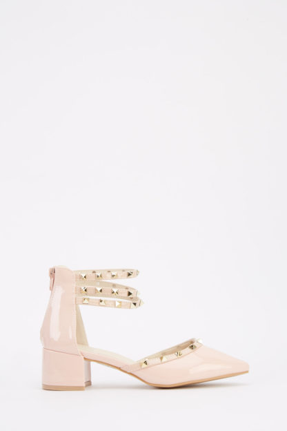 Studded PVC Low Heel Shoes
