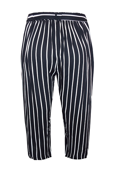 Tapered Crop Striped Belted Trousers