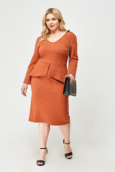 Textured Midi Peplum Dress