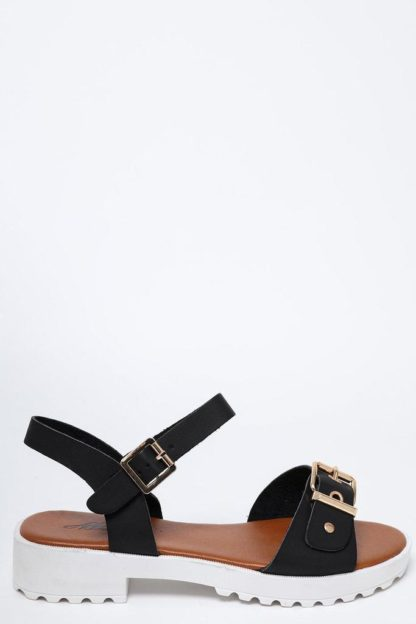 White Cleated Platform Black Sandals