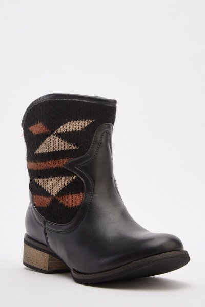 Knitted Contrast Cowboy Style Boots