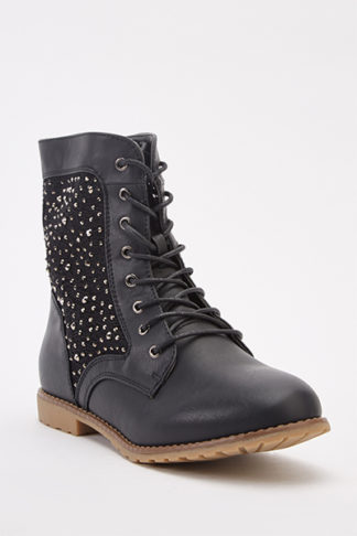 Mesh Encrusted Insert Ankle Boots