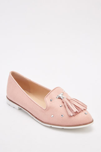 Studded Fringe Slip-On Loafers