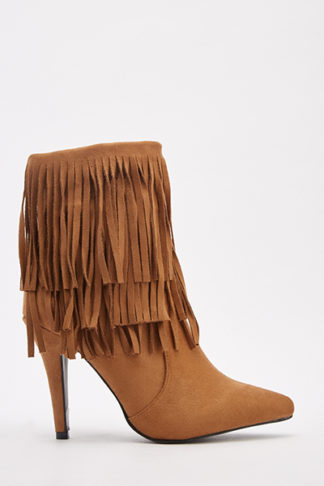 Suedette Fringe Overlay Ankle Boots
