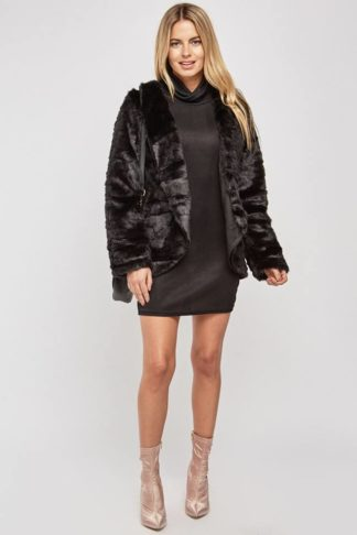 Faux Fur Lapel Front Jacket